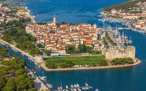 Картинка море, город, Хорватия, Адриатика, Croatia, Trogir, Трогир, наследие ЮНЕСКО