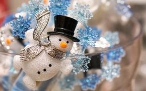 Картинка снежинки, Рождество, Новый год, снеговик, украшение, декорация