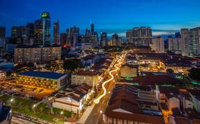 Картинка небо, огни, здания, дороги, дома, вечер, фонари, Сингапур, вид сверху, улицы, Chinatown