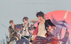 Картинка аниме, арт, парни, самураи, Touken Ranbu, Танец мечей