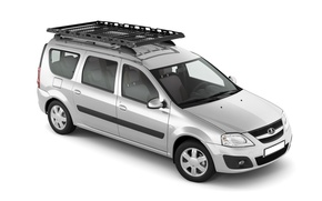 Картинка белый фон, багажник, универсал, Lada Largus, серебристый металик