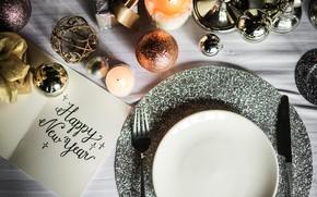 Картинка надпись, новый год, свеча, блестки, тарелка, нож, вилка
