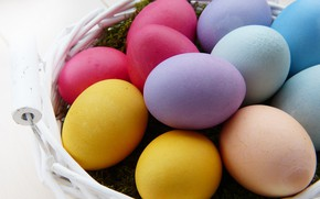 Картинка корзина, яйца, Пасха, Праздник
