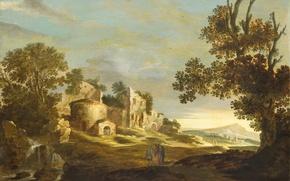 Картинка картина, Пейзаж с Эммаусом, Charles Cornelisz. de Hooch