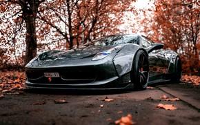 Картинка Авто, Осень, Машина, Серая, Серый, Ferrari, Суперкар, Ferrari 458, Mike Crawat Photography, Mike Crawat, МУМУ …