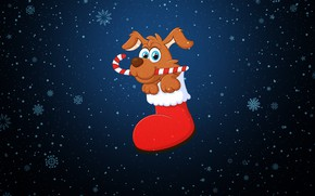 Картинка Зима, Минимализм, Снег, Щенок, Фон, Новый год, Праздник, Настроение, 2018, Год Собаки, Батинок
