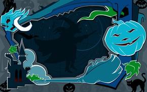 Обои жилище ведьм, witch, светильник Джека, Halloween, на метле, ночь, летучие мыши, тыквы страшные, череп, черный ...