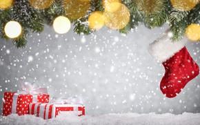 Картинка снег, украшения, елка, Новый Год, Рождество, подарки, Christmas, snow, Merry Christmas, Xmas, gift, decoration