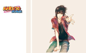 Картинка рубашка, парень, ниндзя, Naruto, жест, Uchiha Sasuke, Наруто Ураганные хроники
