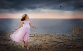 Картинка море, птица, девочка