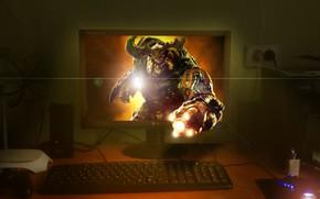 Картинка Монитор, Doom, Вторжение, Кибер демон