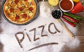 Картинка сыр, перец, пицца, соус, pizza, маслины, мука