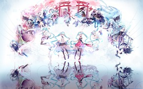 Обои Вокалоид, аниме, отражение, Хатсуне Мику, девушки