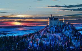 Обои гора, снег, арт, зима, Германия, деревья, замок, Нойшванштайн, птицы, рисунок, небо, Бавария, пейзаж, закат