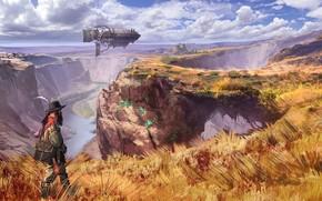 Обои grass, fantasy, airship, river, sky, field, clouds, man, artist, digital art, artwork, fantasy art, fall, ...