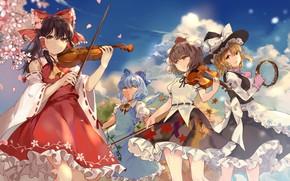 Картинка музыка, скрипка, девочки, touhou