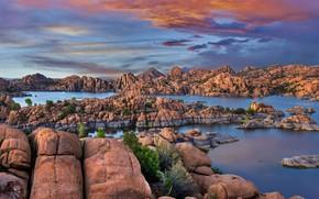Картинка скалы, Аризона, США, Granite Dells, озеро Уотсон