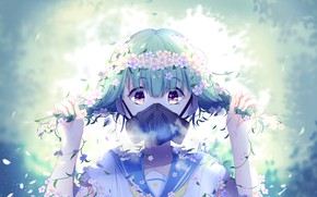 Картинка девушка, цветы, противогаз, школьница, by lluluchwan