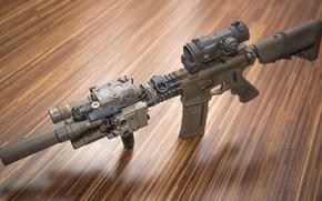 Обои оптика, фон, штурмовая винтовка, глушитель