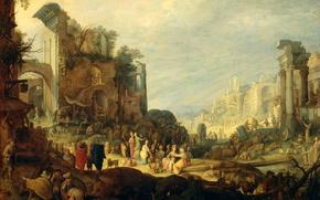 Картинка Пейзаж с Руинами и Встречей Ребекки и Элизера, масло, Willem van Nieulandt II, картина, миф