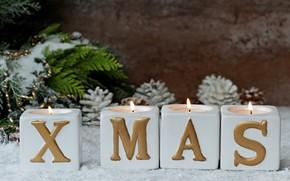 Картинка праздник, новый год, свечи, декор, ветки ели