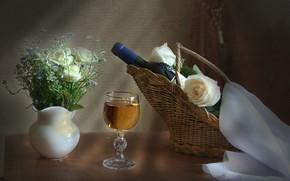Обои розы, вино, корзина, бокал, натюрморт, бутылка
