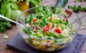 Картинка миска, овощи, салат, базилик