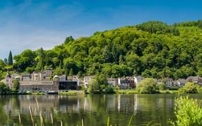 Картинка зелень, небо, солнце, деревья, река, берег, дома, Германия, холм, Traben-Trarbach