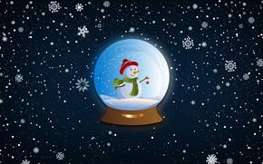 Картинка Зима, Минимализм, Снег, Шар, Снежинки, Фон, Новый год, Праздник, Настроение, Снеговик, Стеклянный шар