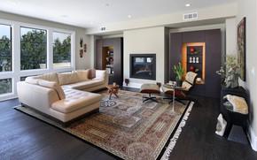 Картинка диван, мебель, окно, камин, гостиная