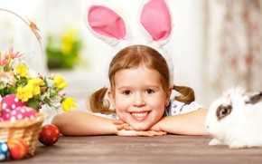 Картинка яйца, кролик, девочка, зайка