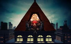 Картинка крыша, ночь, жертва, охрана, зайцы, малышка, наручники, злые, босс, автоматы, пленник, шатер, крутая