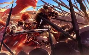 Картинка Fate Grand Order, конь, аниме, арт, парень