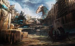 Картинка город, здания, строительство, Godfire, Trojan Horses