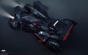 Картинка лучи, автомобиль, batmobile concept