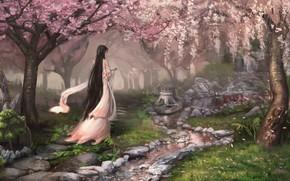 Картинка woman, park, digital art, oriental