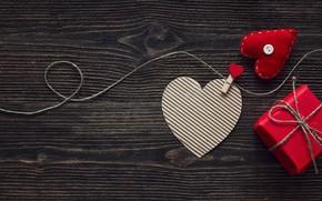 Картинка любовь, подарок, сердце, сердечки, red, love, heart, wood, romantic, Valentine's Day, gift, decoration