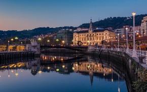 Картинка небо, вода, закат, мост, огни, отражение, река, дома, вечер, фонари, Испания, Bilbao