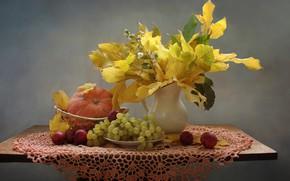 Картинка осень, листья, яблоки, виноград, тыква, натюрморт, райки