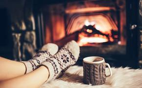 Картинка fire, stockings, cafe, fireplace