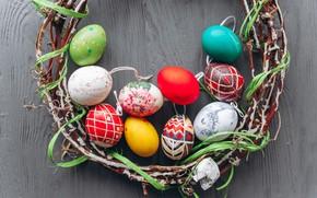 Картинка ветки, яйца, весна, colorful, Пасха, венок, wood, spring, Easter, eggs, decoration, Happy
