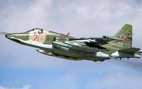 Картинка ОКБ Сухого, ВВС России, Су-25БМ, российский штурмовик, бронированный дозвуковой военный самолёт