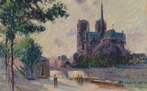 Картинка картина, Собор Парижской Богоматери, городской пейзаж, Гюстав Луазо, Gustave Loiseau