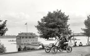 Картинка пейзаж, дом, ретро, дамы, Ford, США, автомобиль