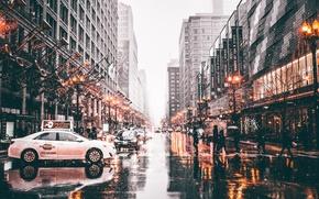 Обои машины, город, огни, люди, улица, Чикаго, США