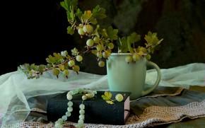 Картинка чашка, бусы, книга, крыжовник
