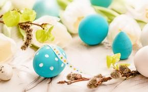 Картинка цветы, весна, Пасха, тюльпаны, wood, flowers, tulips, spring, Easter, eggs, decoration, Happy, яйца крашеные
