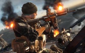 Картинка gun, game, weapon, hat, Battlefield, man, M4A1, rifle, Battlefield 4, Battlefield IV