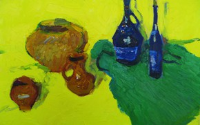 Картинка жёлтый фон, натюрморт, 2008, зелёная ткань, кувшины, вино, Петяев