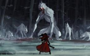 Картинка лес, человек, монстры, волки, by Remarin